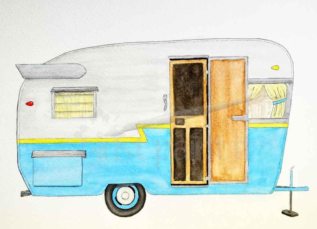 vintage camper trailer watercolor
