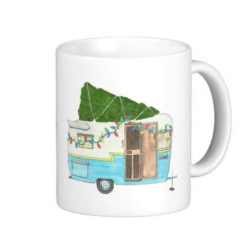 vintage camping trailer Christmas mug