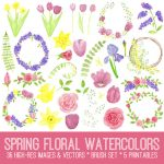 Spring Watercolor Flowers